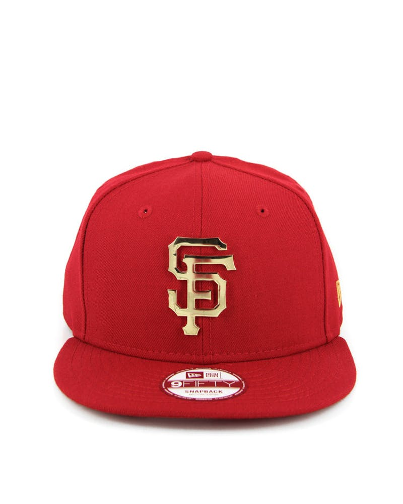 San Francisco Giants Metal Badge Snapback Scarlet/gold