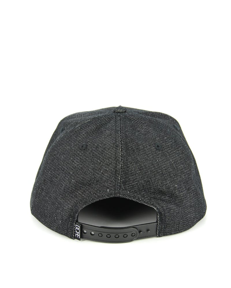 Square Logo Metal Snapback Black Denim