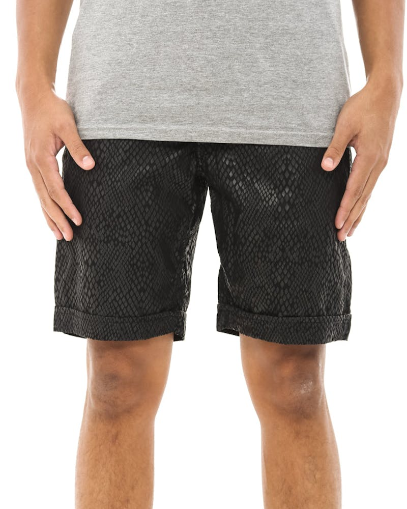 Spokane Snake Skin Shorts Black