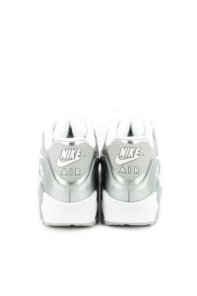 Nike Air Max 90 Premium Leather (GS) WhiteWhite Metallic Silver (724871 100)