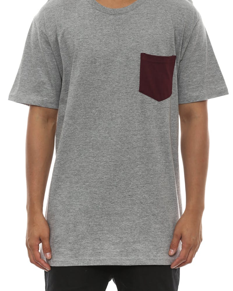 Colour Pocket Tee Heather Grey/bu