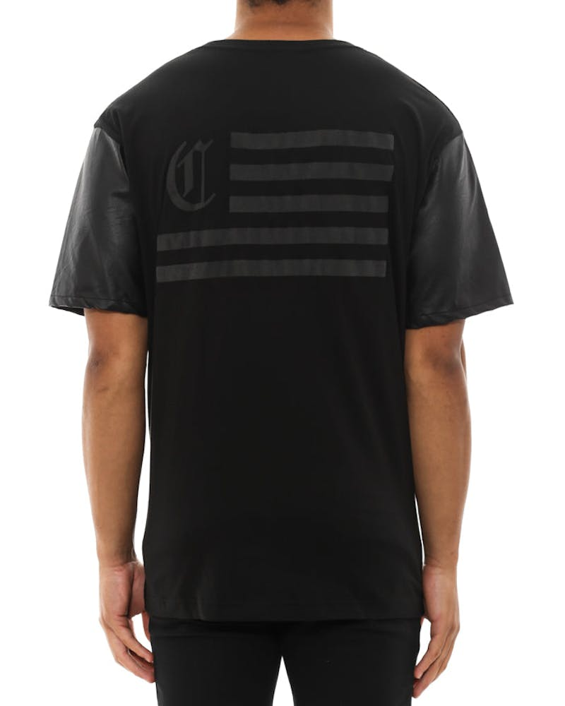 C Flag Leather Sleeve Tee Black