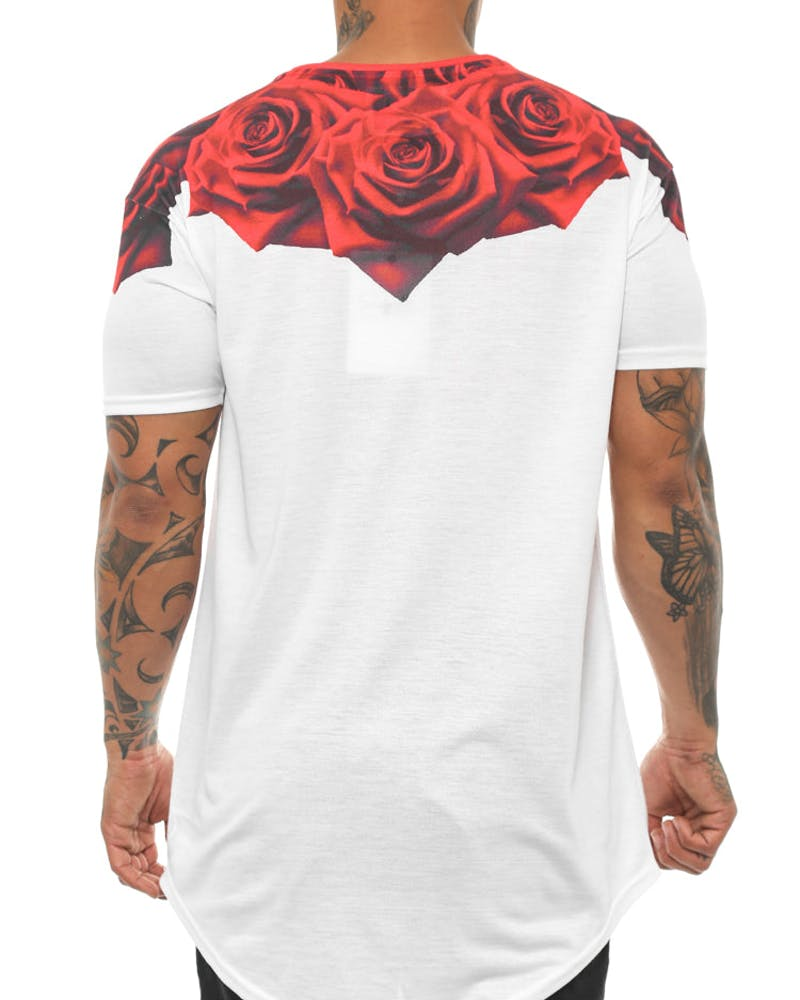Rose Curved Hem Tee White