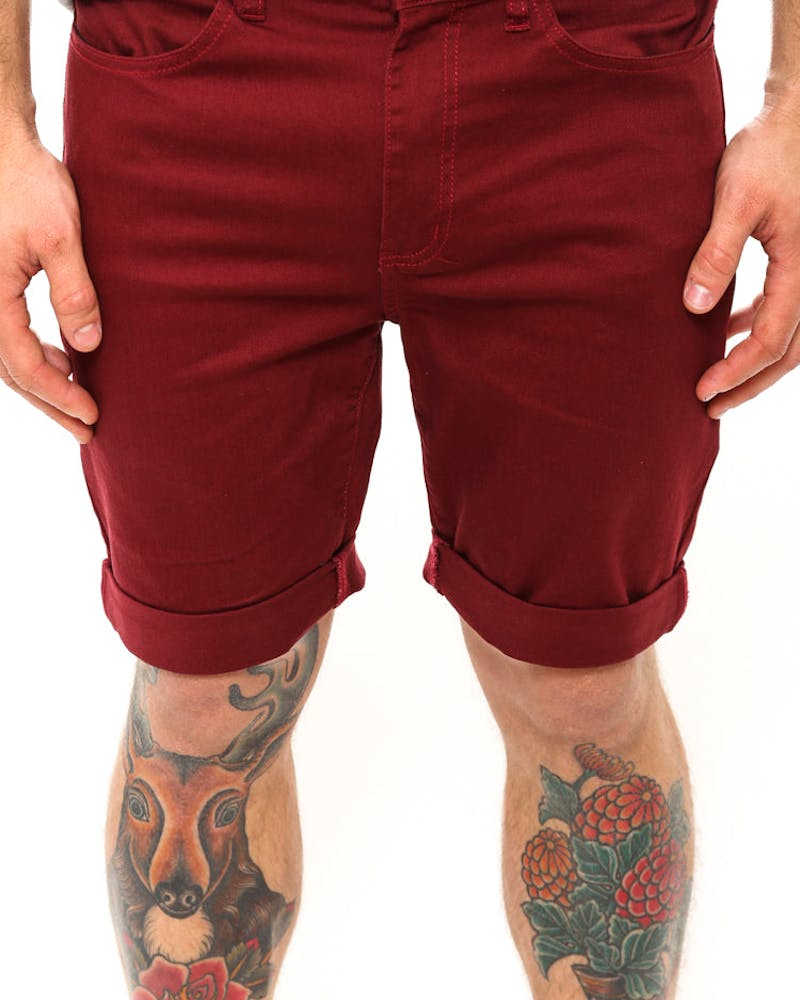 Leaner Cuffed Short S14 Maroon/white