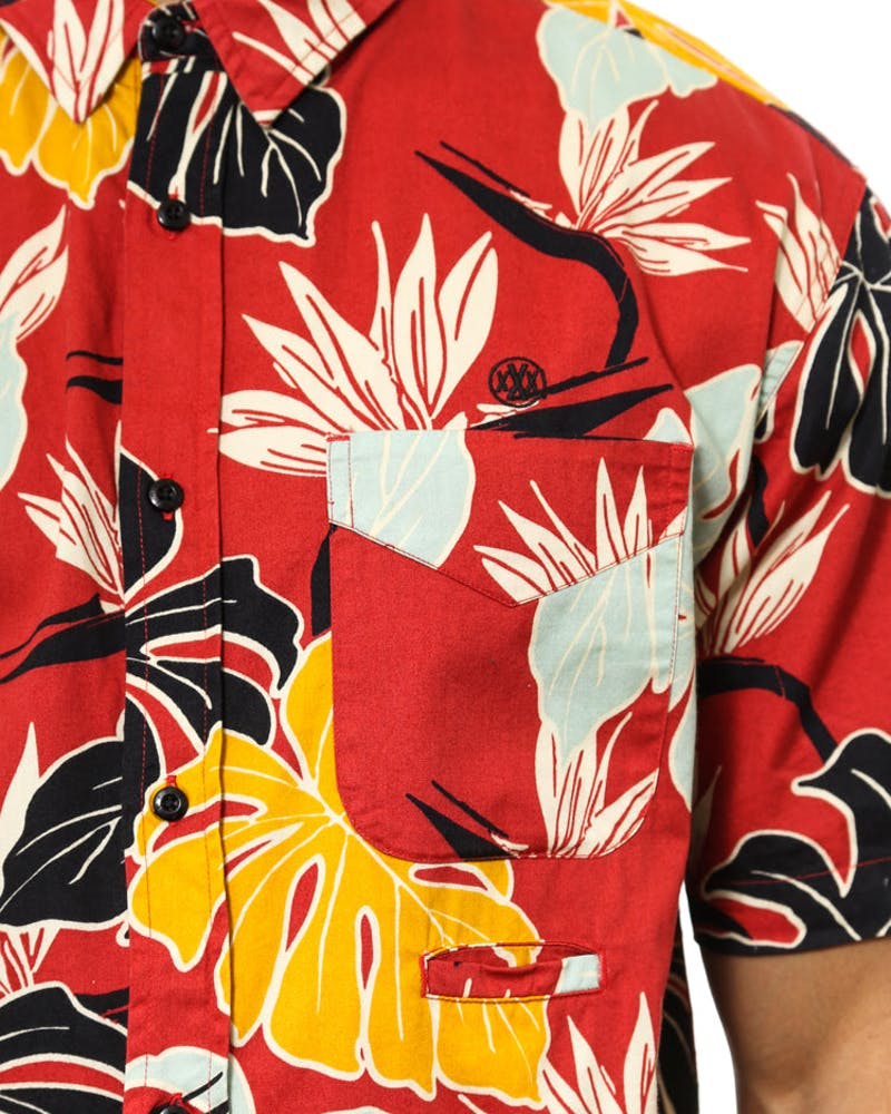 Bird of Paradise Button Up Red