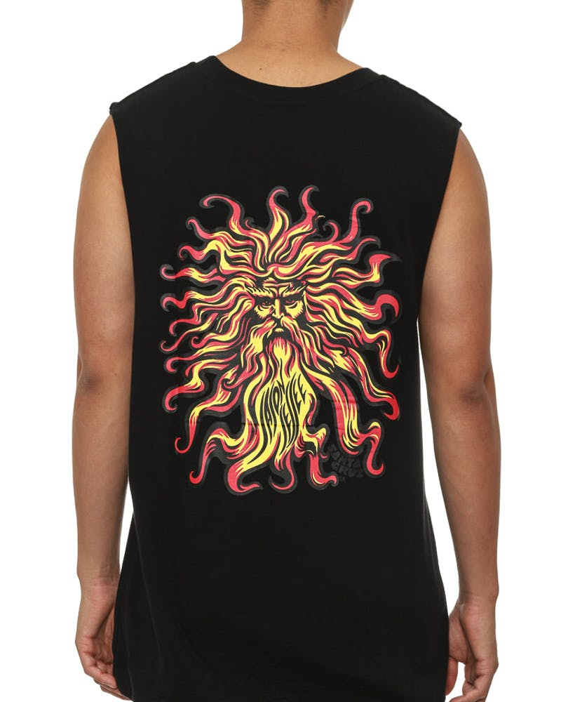 Sun God Muscle Tee Black