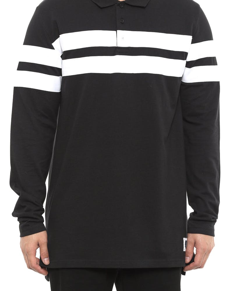 Piquet Polo L/sl Top Black/white